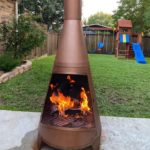 outdoor fireplace on the yard
