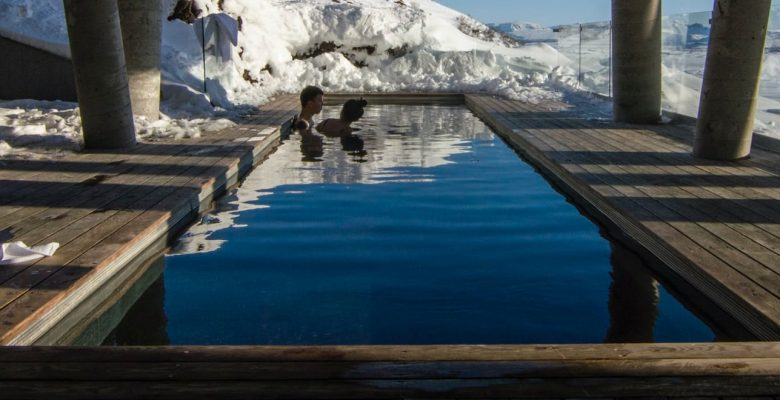 timber landscaping on pools