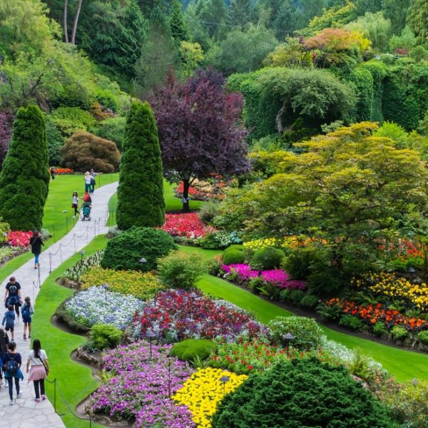 colorful botanical garden with lots of people