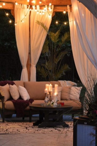 cozy backyard at night
