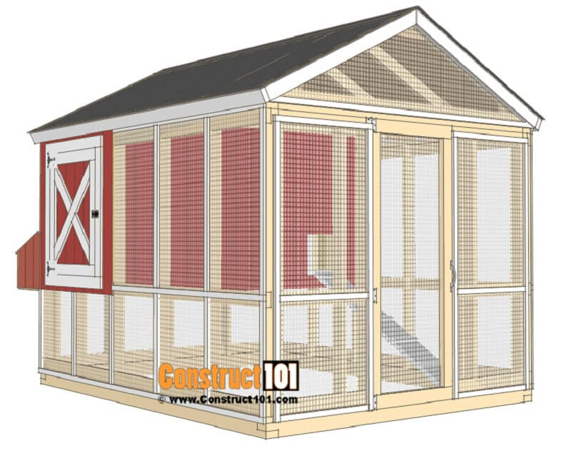 gable roof chicken coop plan