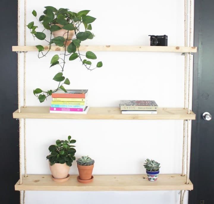 hanging rope wooden shelves