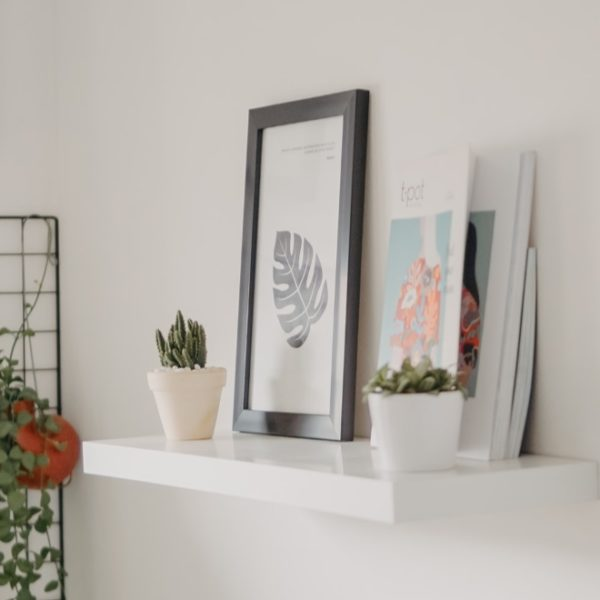 minimalist white wall shelf indoors