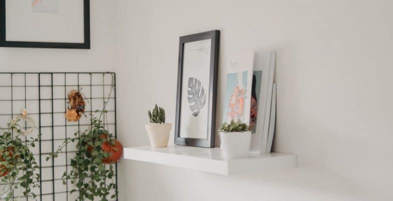 minimalist white wall shelf indoors