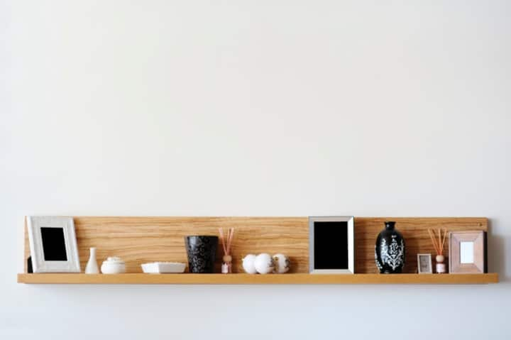 minimalist wooden shelf