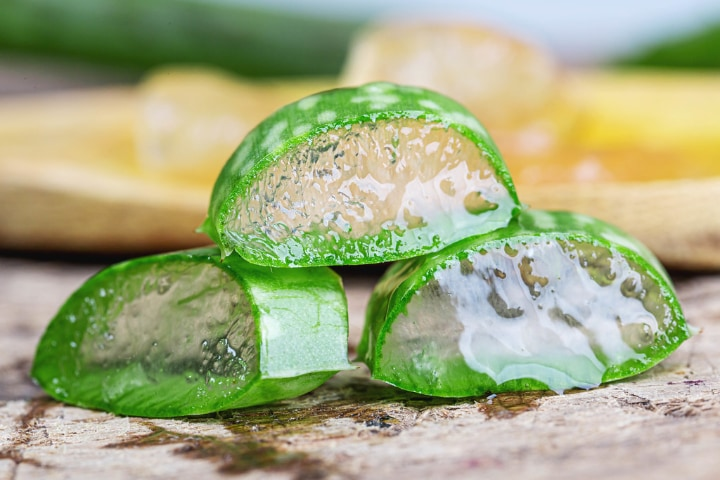 sliced aloe vera for easy skin application