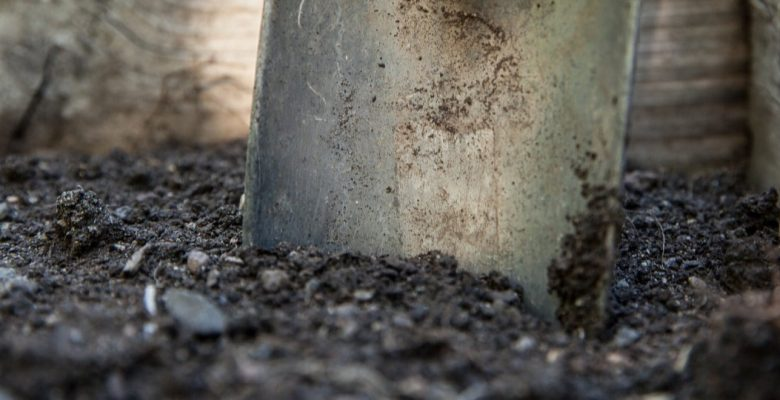 garden soil with a shovel