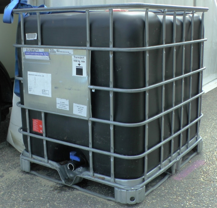 gallon tote for rain water harvesting