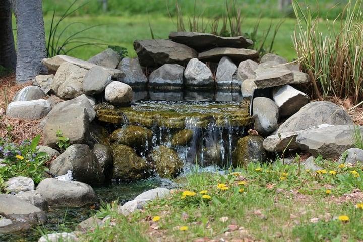 garden rocks on pond