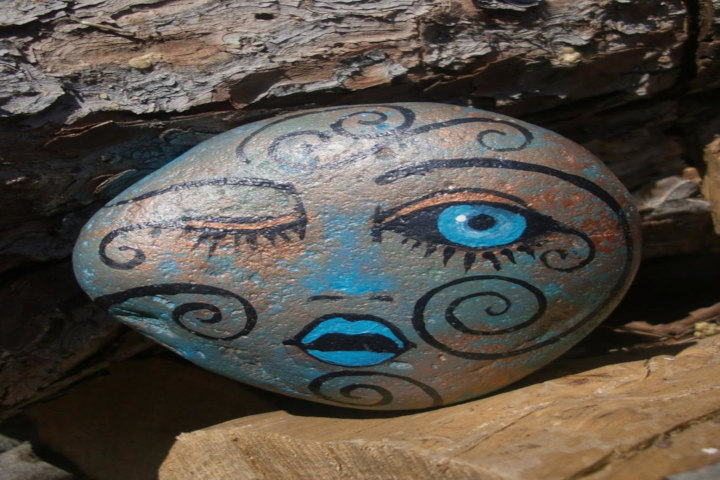 garden rocks with faces