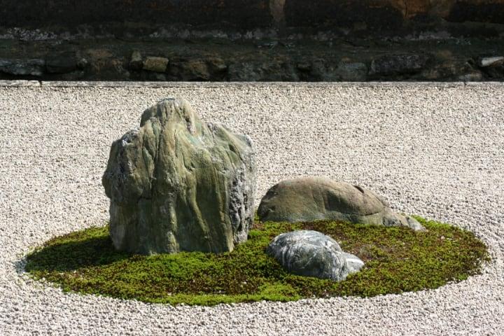 large garden rock on huge space