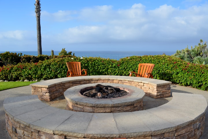 matching outdoor brick fire pits and seats