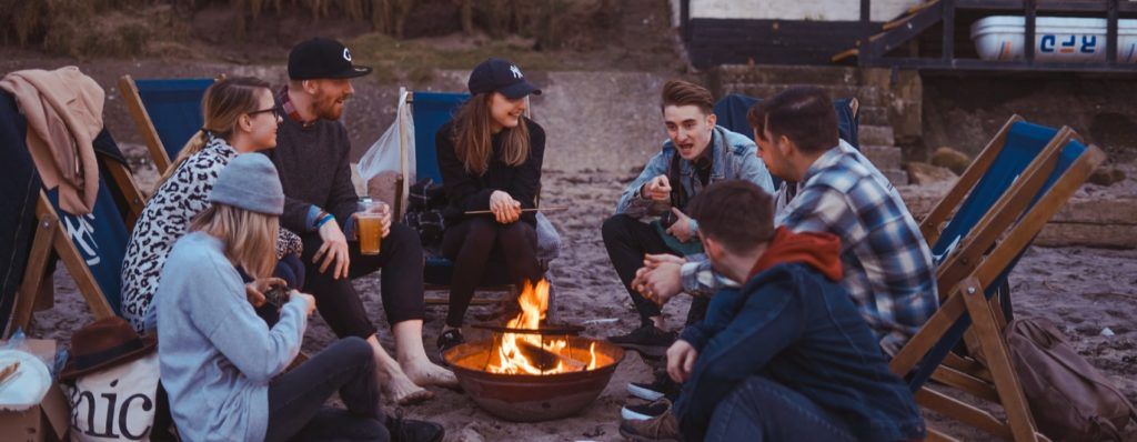 portable outdoor fire pit with friends