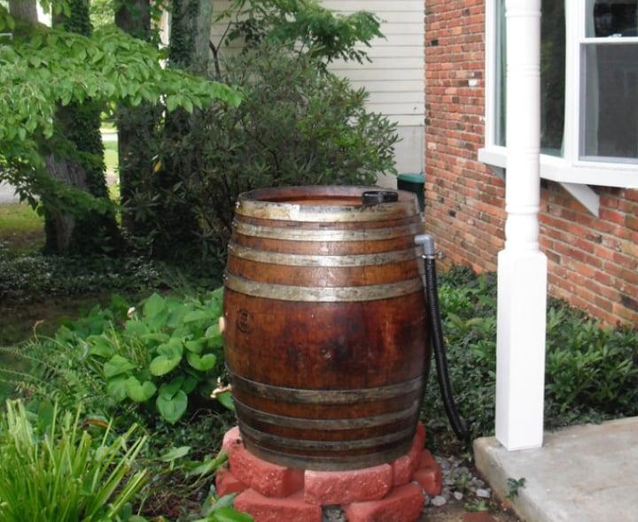 rain water harvesting barrel with overflow pipe