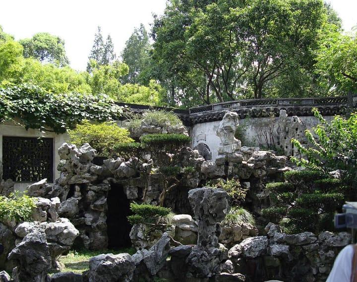 stacked rocks in garden