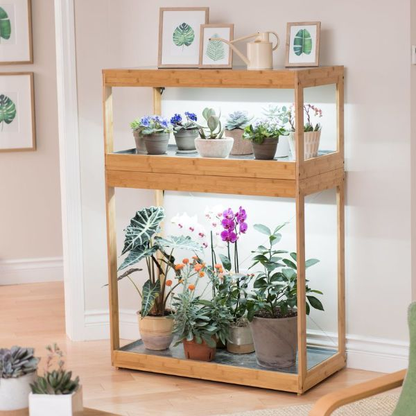 plant stand with light