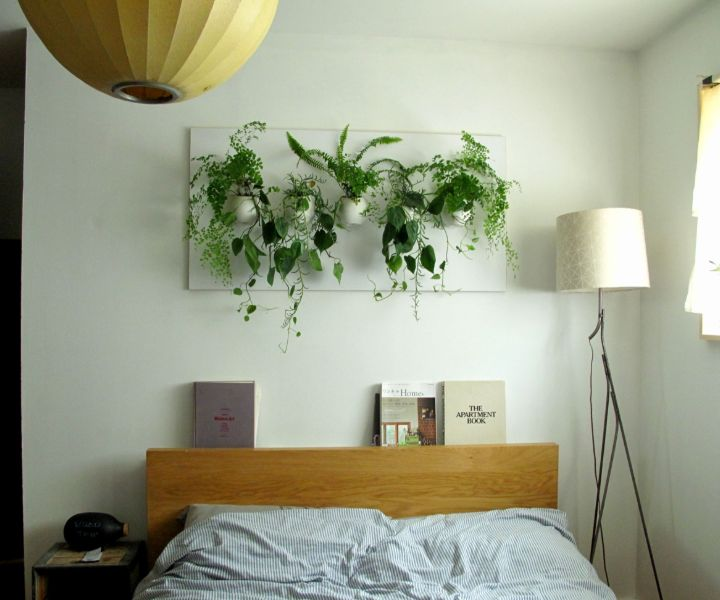 plant wall in bedroom