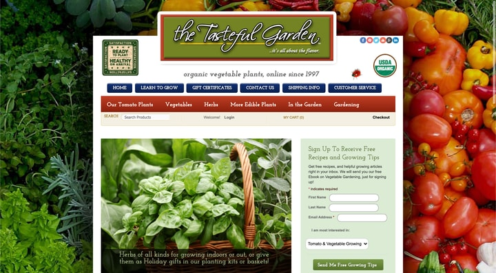 the tasteful garden website homepage