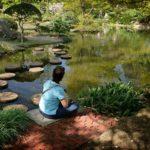 meditating in a japanese garden