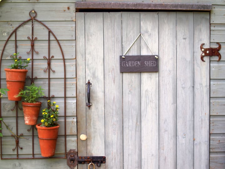 mini garden shed plant wall