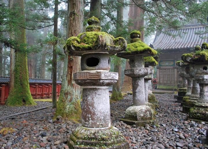 moss covered japanese stone lantern