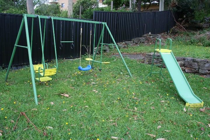 repainted garden swing and slide