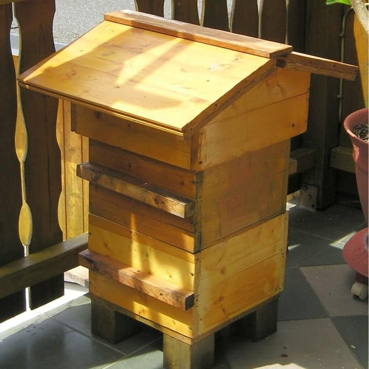 warre hive in the garden