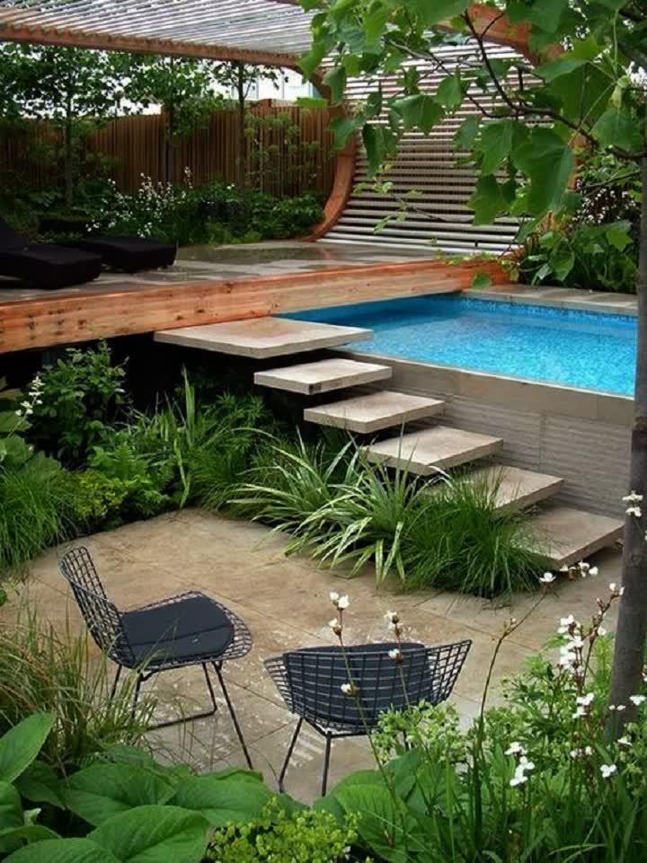 big pool landscape gardening concept