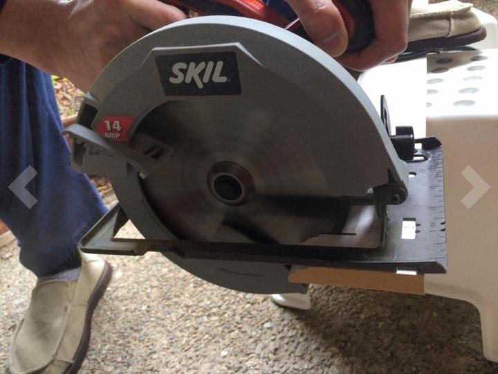 cutting wood with a circular saw