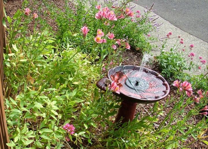 solar powered bird bath in flower garden
