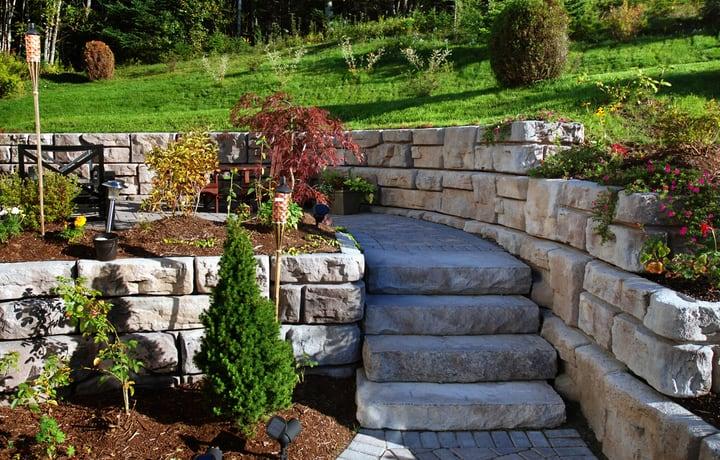 concrete retaining wall garden