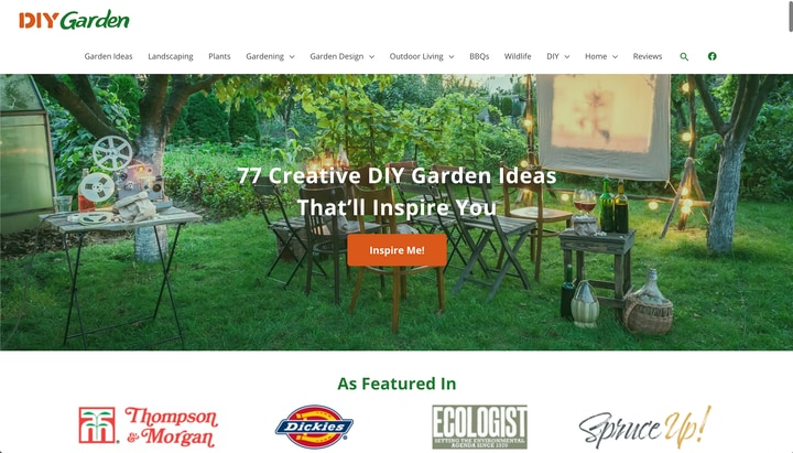 diy garden website homepage