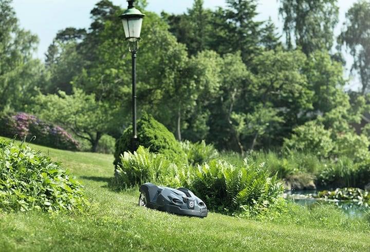 electric lawn mower robot at work in garden