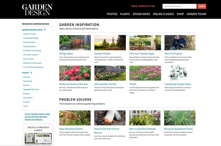 garden design website homepage