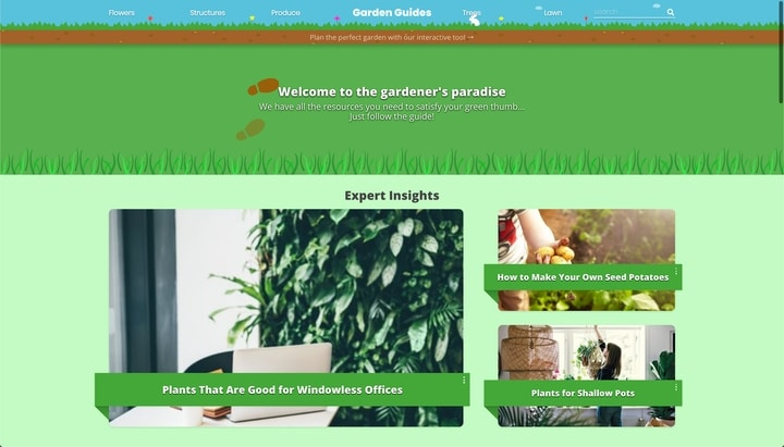 garden guides website homepage