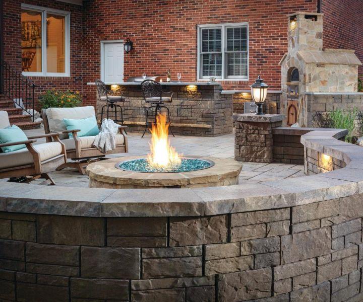 stone deck fire pit ideas