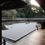 relaxing at a zen garden