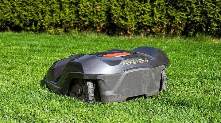 robot mower cutting grass