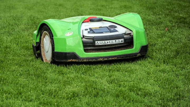 robotic lawn mower doing all the work