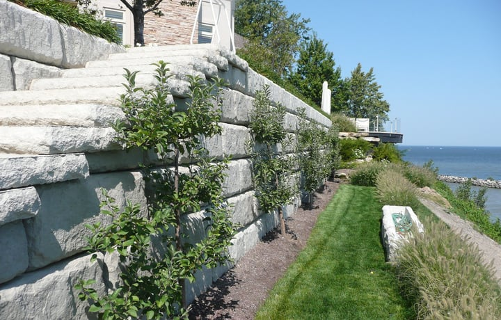rock retaining wall garden