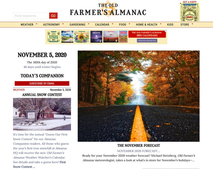 the old farmers almanac website homepage