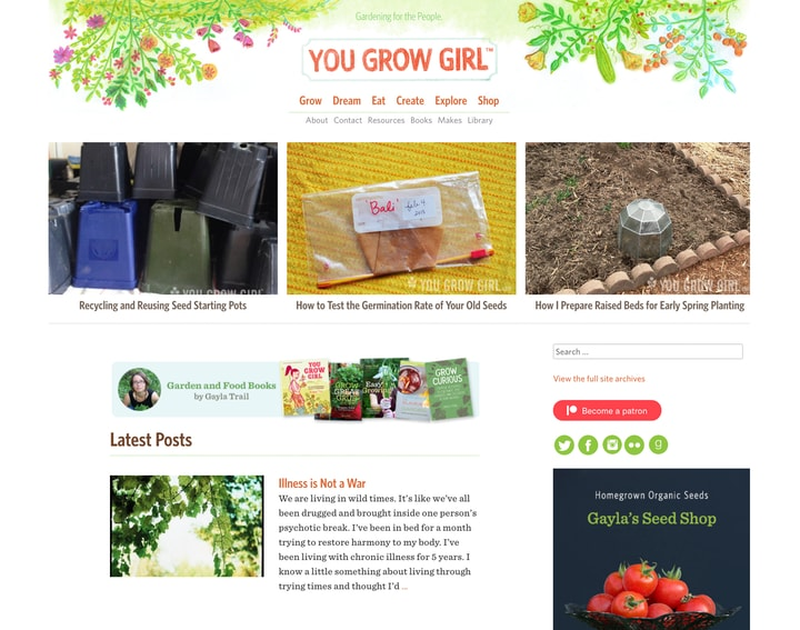 you grow girl website homepage