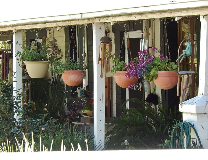hanging planters on the porch