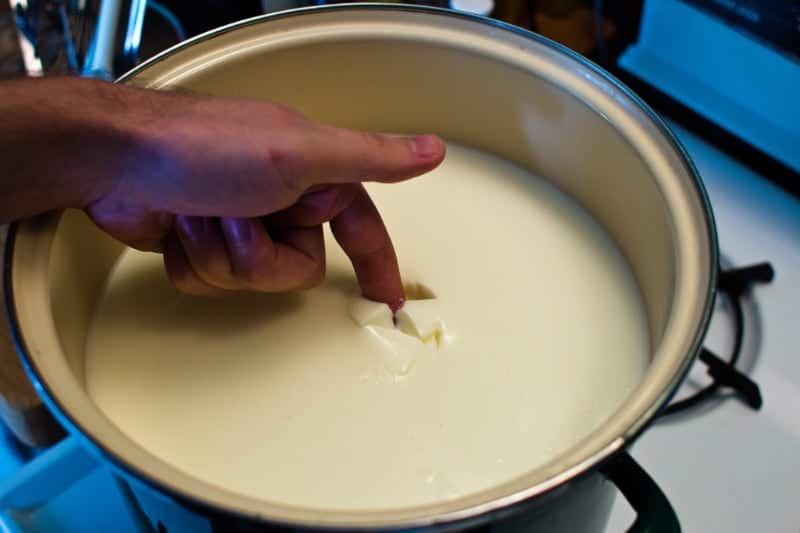 allowing the milk to curdle